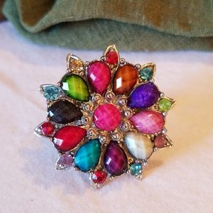 Colorful cocktail ring in silvertone, expandable